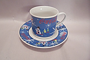 Coca Cola Laughing Snowman Cup & Saucer Set