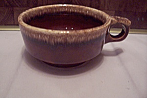 Hull Brown Drip Pottery Soup Mug With Handle