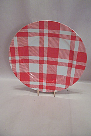 Fitz & Floyd Red And White Plaid Bread & Butter Plate