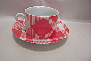 Fitz & Floyd Red And White Plaid China Cup & Saucer