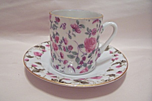 Flower Decorated Demitasse Cup And Saucer Set