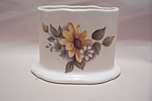 Porcelain Flower Decorated Oval Toothpick Holder