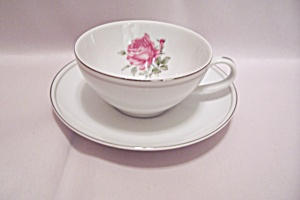 Imperial Rose Pattern Fine China Cup & Saucer Set