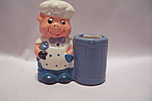 Porcelain Pig Chef Hand Paintedtoothpick Holder