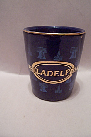 Cobalt Blue Philadelphia Souvenir Toothpick Holder