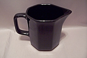 Black Six Sided Pottery Creamer