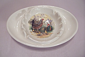 White Porcelain Chicken Decorated Oval Ash Tray