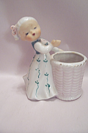 Little Girl With Basket Porcelain Toothpick Holder