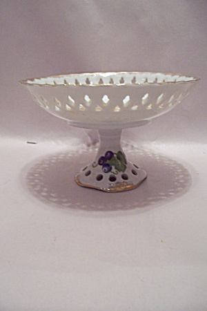 Lefton Hand Painted Pedestal Fruit Bowl Centerpiece