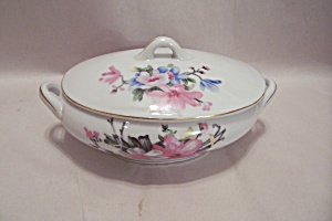 Fine China Flower Decorated Oval Sugar Bowl W/lid