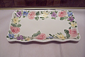 Hand Painted English Garden Pattern Porcelain Tray