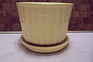 Mccoy Pottery Yellow Bamboo Pattern Round Planter