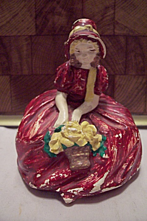 Antique Chalkware Lady In Red Dress Figurine