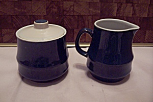 Japan Cobalt Blue Stoneware Sugar & Creamer Set