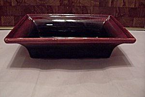 Hull Maroon & Red Pottery Rectangular Footed Planter