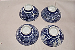 Japanese Fine China Footed Set Of Four Rice Bowls