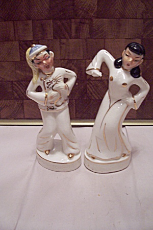 Japanese Porcelain Male & Female Dancer Figurines