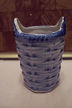 Porcelain Two Tone Blue Basket Weave Toothpick Holder