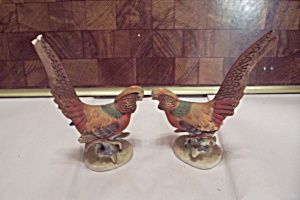 Pair Of Lefton Porcelain Golden Pheasant Figurines
