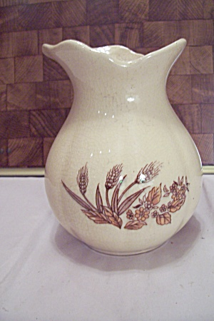 Taiwan Off White Pottery Wheat Decorated Pitcher