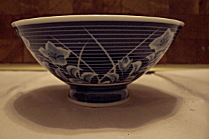 Japan Blue Floral Decorated Footed Rice Bowl