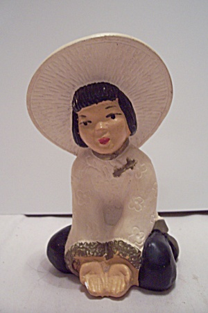 Porcelain Hand Painted Chinese Girl Figurine