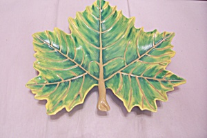 Spring Green Hand Painted Ceramic Art Leaf Shaped Dish