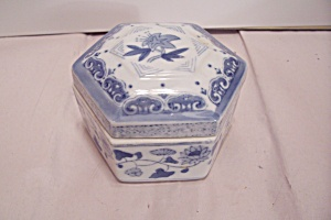 Oriental Decorated Six Sided Porcelain Lidded Box