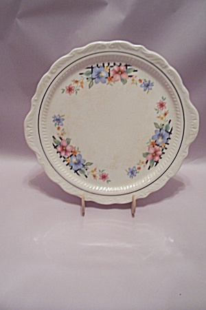 Fine China Floral Patterned Tab Handled Round Platter