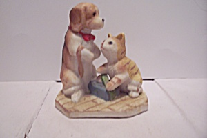 Porcelain Dog & Cat Figurine