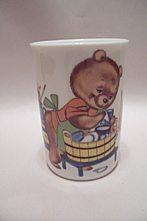 West German Porcelain Bear Decorated Glass
