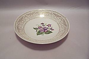 Purple Flower & Gilt Decorated China Soup Bowl