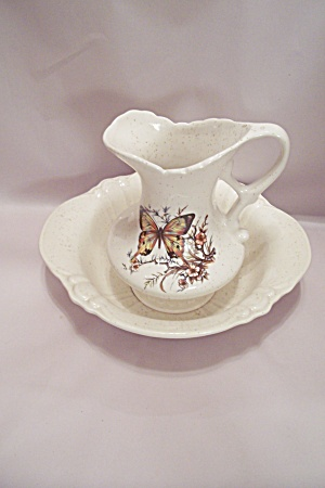 Porcelain Treasure Craft Water Pitcher & Bowl Set