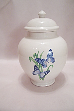 Ftd White Porcelain Butterfly Decorated Ginger Jar