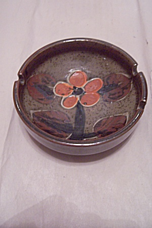 Olive Green Porcelain Orange Flower Decorated As Tray
