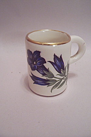 White Porcelain Purple Flower Toothpick Holder