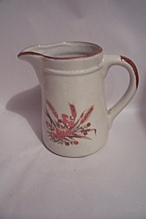 Light Tan Flower & Grain Decorated Crock Pitcher