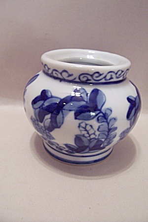 Flow Blue China Bowl Shaped Toothpick Holder