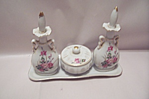 Fine China 4-piece Floral Decorated Condiment Set