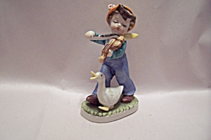 Hand Painted Little Boy & Duck Porcelain Figurine