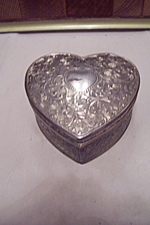 Silver Plated Small Heart Shaped Jewelry Box