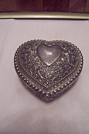 Antiqued Silver Plate Heart Shaped Jewelry Box