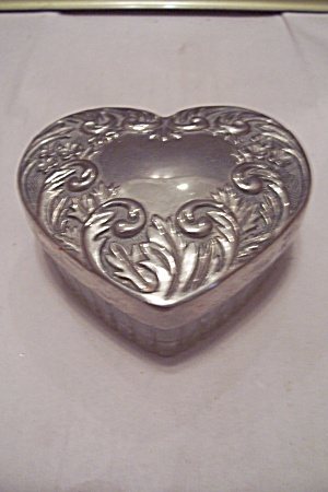 Silver Plate & Crystal Glass Heart Shaped Jewelry Box