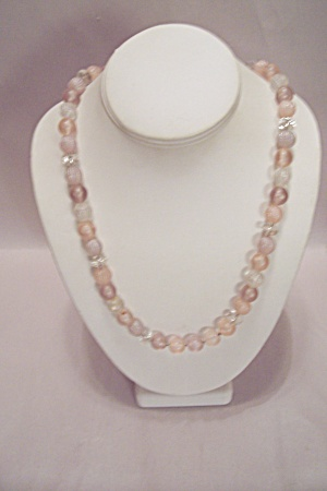 Light Pink & Clear Bead Necklace