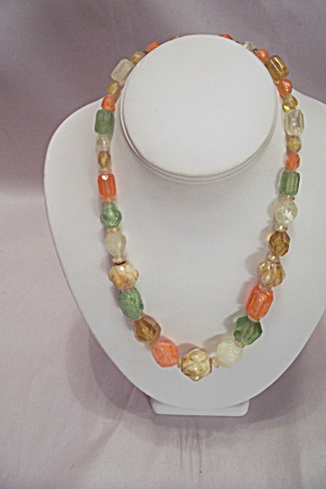 Multi-colored & Shaped Faceted Plastic Beads Necklace