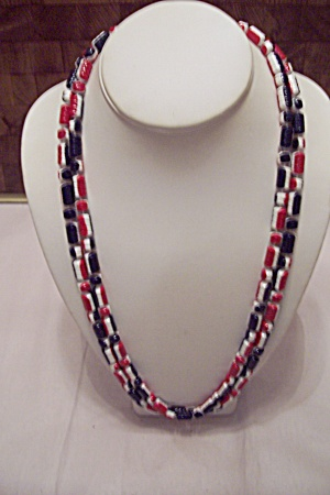 Red, White & Blue Plastic Bead Necklace