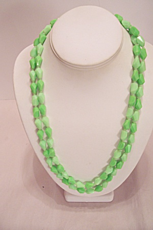 Two-tone Green Triangular Faceted Beads Necklace