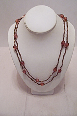 Faceted Amber Oval Beads & Tiny Goldtone Beads Necklace