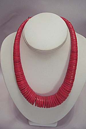 Red Wooden Disk Necklace