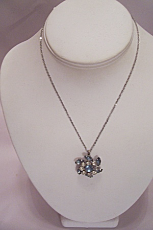 Silver Fine Link Chain And Rhinestone Necklace